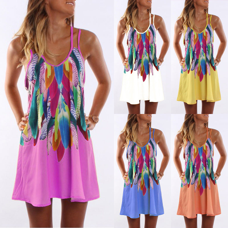 Boho Women Holiday Strappy Dress Ladies Summer Printed Casual Mini Beach Sundress Plus Size S-5Xl | Edlpe