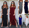 Image of Womens Boho Short Sleeve Split Maxi Dress With Pocket Summer Evening Cocktail Party Beach Long Skirt | Edlpe