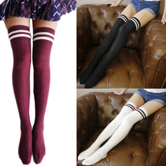 Womens Girl Striped Over The Knee Socks Thigh High Stretchy Socks Cotton Long Leggings | Edlpe