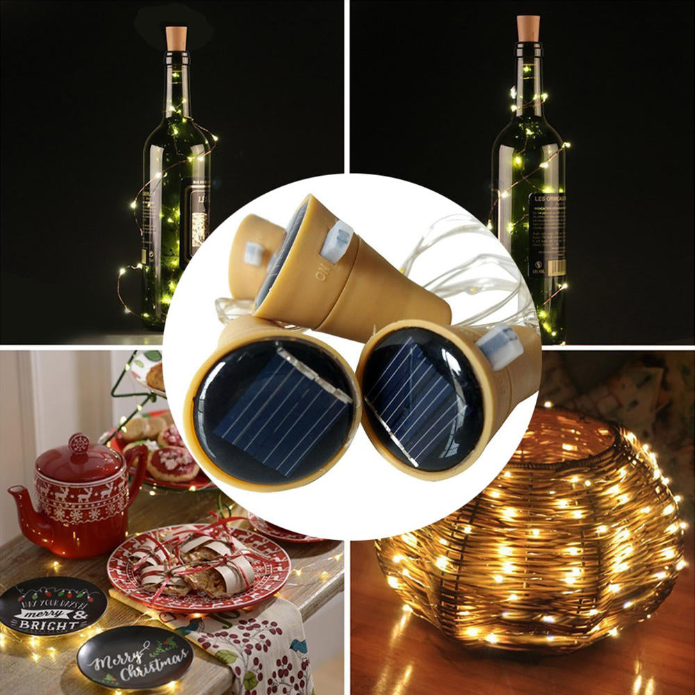 1X Solar Wine Bottle Stopper Cork Shaped Led String Lights Party Xmas Lamp | Edlpe