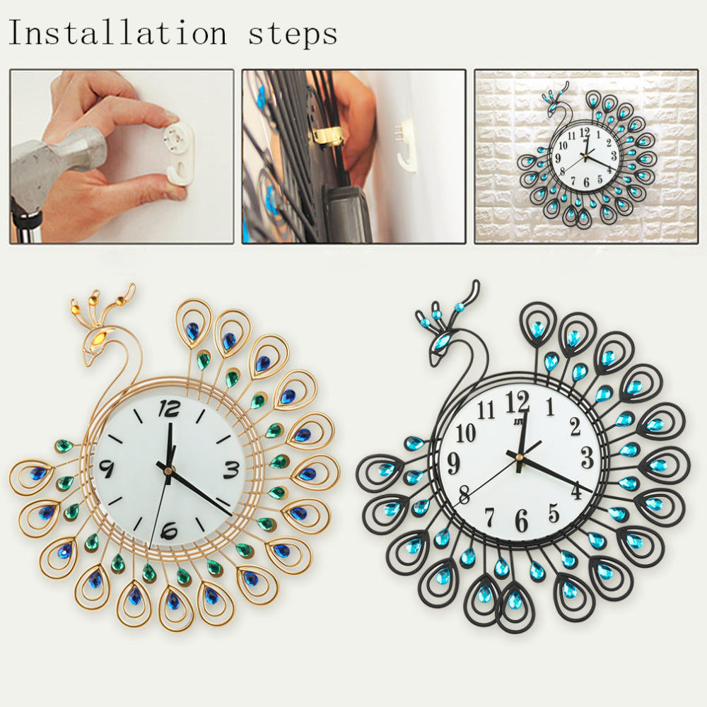 Luxury Peacock Diamond Wall Clocks Metal Digital Needle Home Decoration Clock Vintage Design | Edlpe