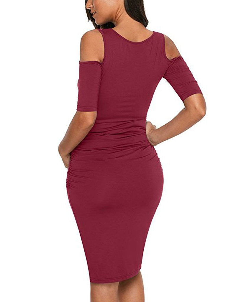 Concise Cold Shoulder Maternity Scoop Neck Knee-Length Bodycon Dress | Edlpe