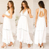 Image of Women Deep V Halter Neck Lace Maxi Dress Summer Beach Backless Long Sundress