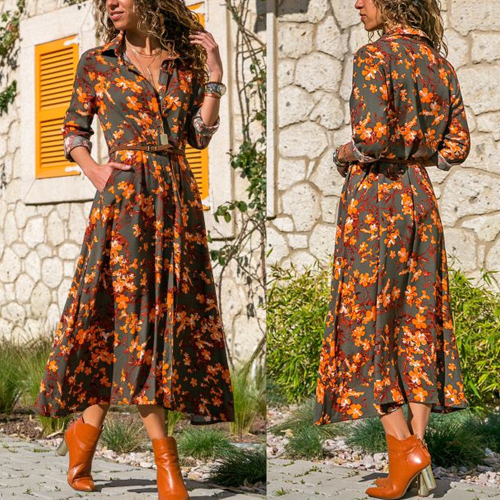 Women Long Sleeve Button Floral Maxi Casual Loose Long Dress Tea Dress Boho Shirt Dress | Edlpe
