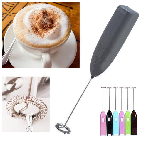 Electric Handle Drinks Milk Frother Foamer Whisk Mixer Stirrer Stainless Steel Egg Beater | Edlpe