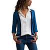 Image of Womens V Neck Long Sleeve Career Button Blouse Lady Casual Patchwork Shirt Top | Edlpe