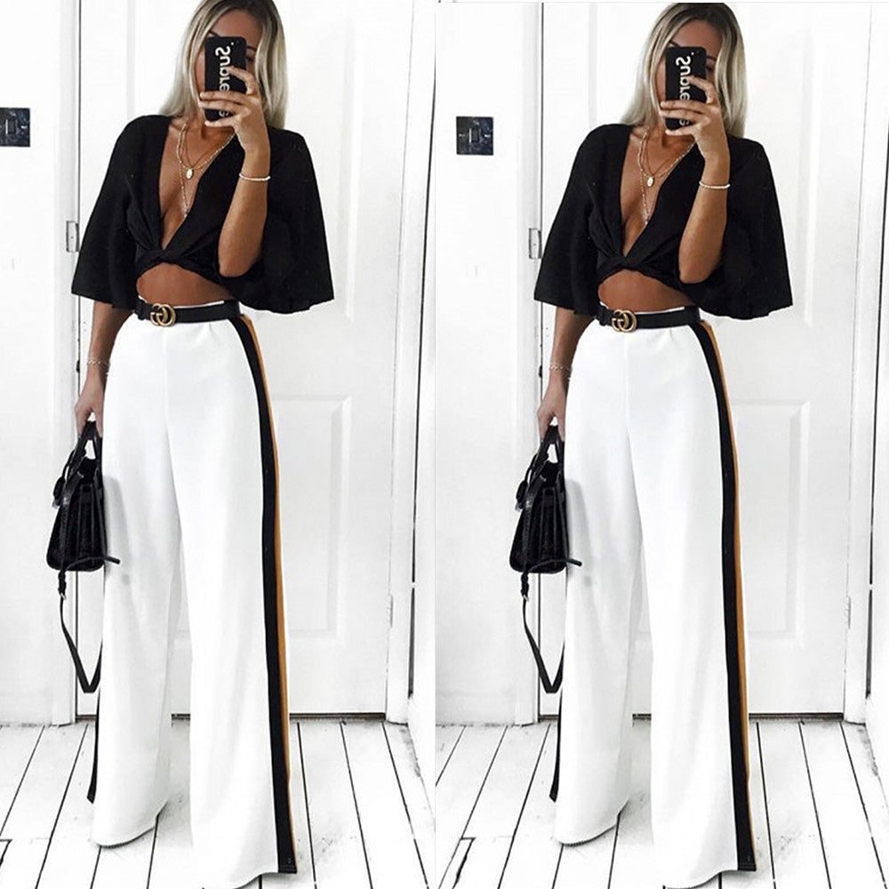 Women Wide Leg High Waist Casual Pants Loose Culottes Palazzo Flared Trousers | Edlpe