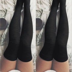 Fashion Women Sexy Cotton Over The Knee Socks Thigh High Stockings Thinner Solid Grey Black Socks