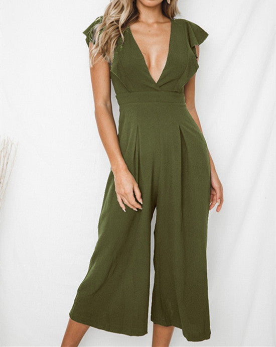 Women Ruffle V-Neck Sleeveless Long Jumpsuit Ladies Sexy Wide Leg Playsuit | Edlpe