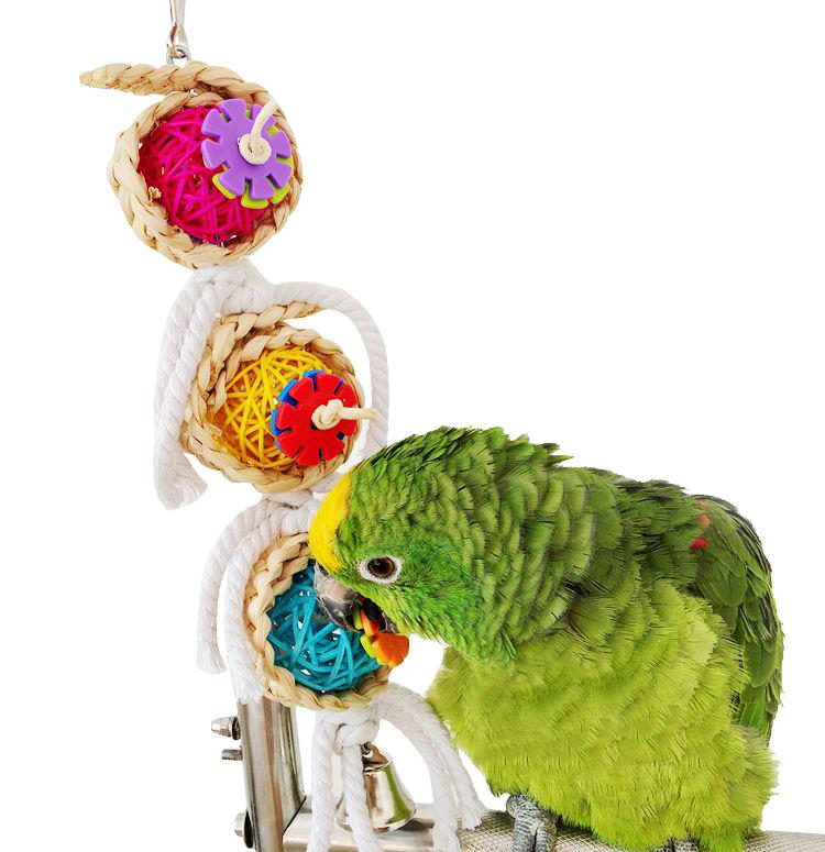 Bird Toy Pet Parrot Loofah Sponge Vine Rope Ladder Position Bird Swing Parrot Toy | Edlpe