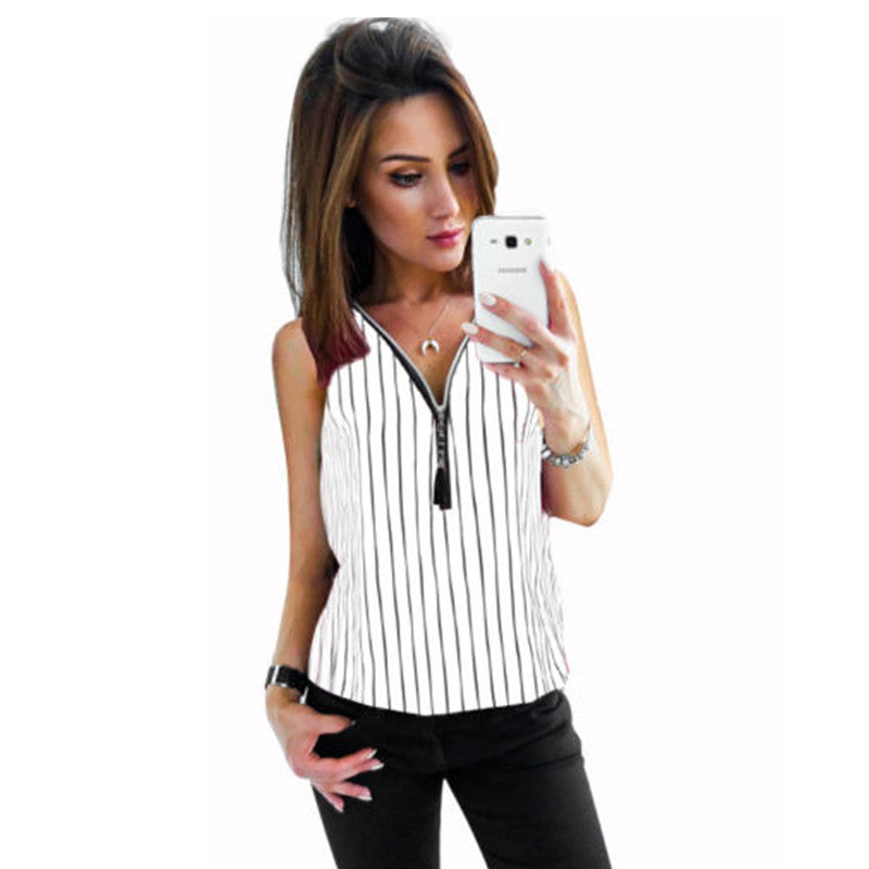 S-5Xl Women Striped V Neck Zipper Sleeveless Tops Shirt Casual Slim Blouse | Edlpe