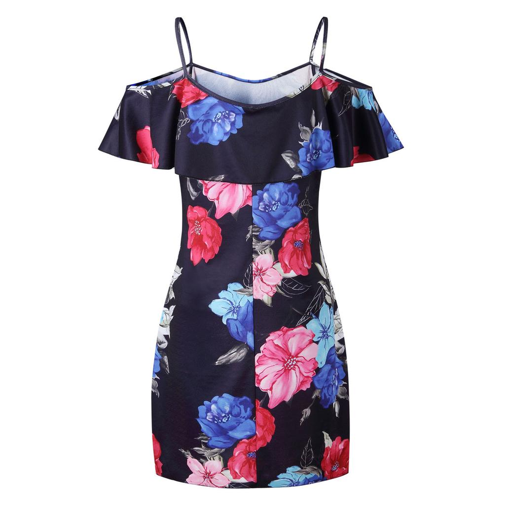 Women Summer Holiday Floral Sun Dresses Ladies Off Shoulder Mini Beach Dress Tops | Edlpe