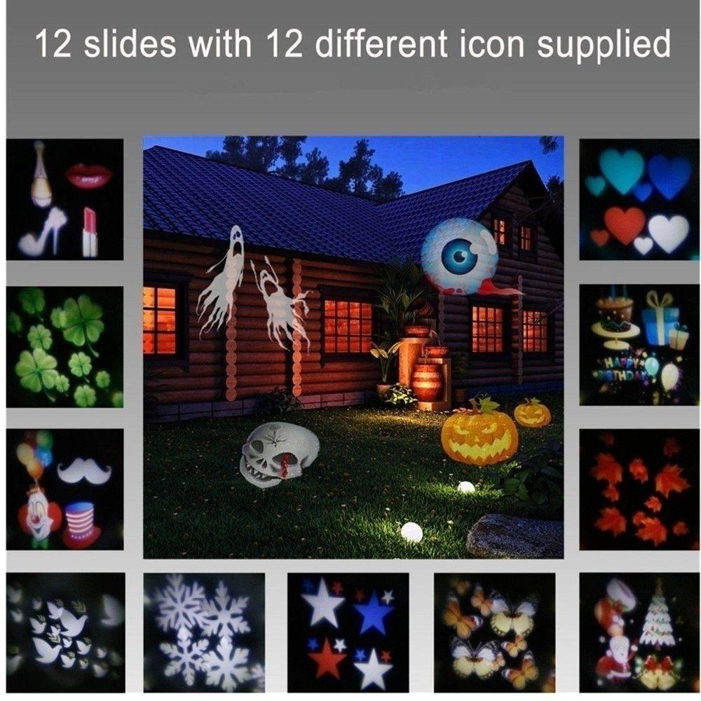 12 Patterns Led Projector Landscape Lamp Remote Control Waterproof Perfect For Halloween Christmas | Edlpe