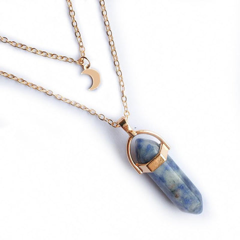 Womens Round Stone Moon Clavicle Necklace Fashion Crystal Pendant Female Jewelry | Edlpe