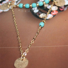 Multi-layer Round Pendant Necklace With Short Clavicle Chain For Female