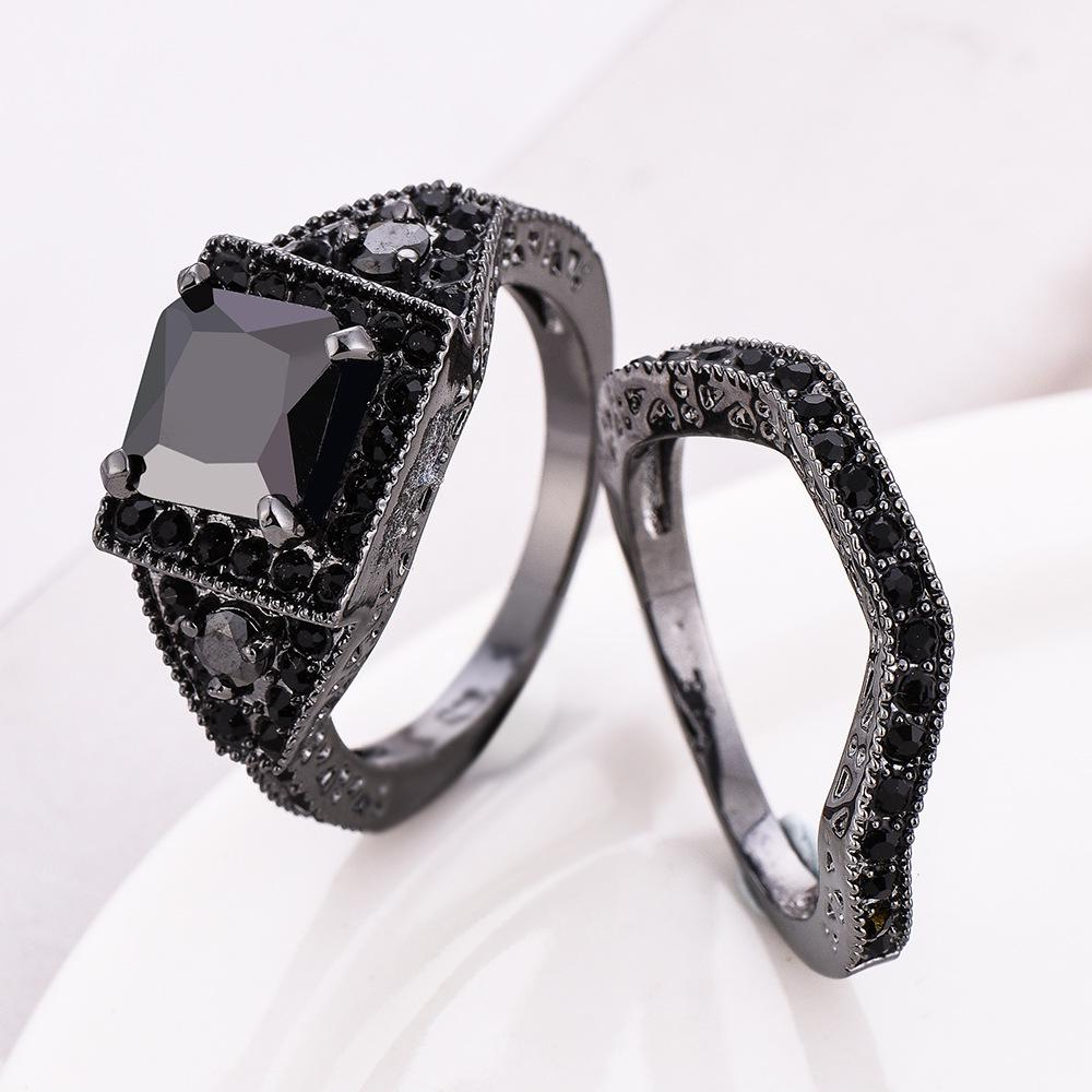 Black Zircon Ring Set 2Pcs/pair Vintage Cubic Zirconia Wedding Double Bands For Women Jewelry | Edlpe