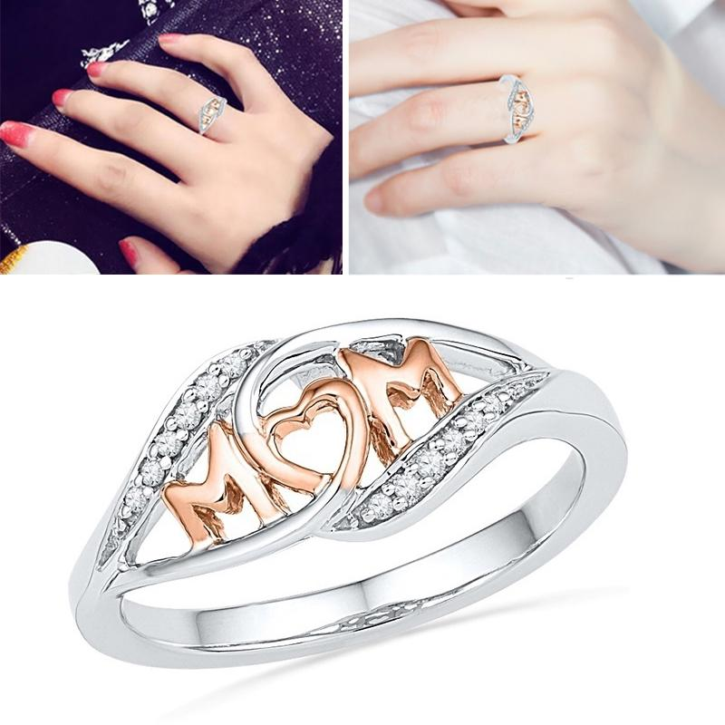 Crystal Romantic Rose Gold Color Love Mum Heart-Shaped Rings For Mothers Day Gifts | Edlpe
