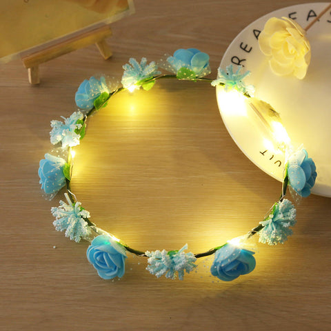 Rose Flower Garland Led Copper Wire String Light Wedding Party Decor Accessory | Edlpe