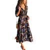 Image of Women Long Sleeve Button Floral Maxi Casual Loose Long Dress Tea Dress Boho Shirt Dress | Edlpe