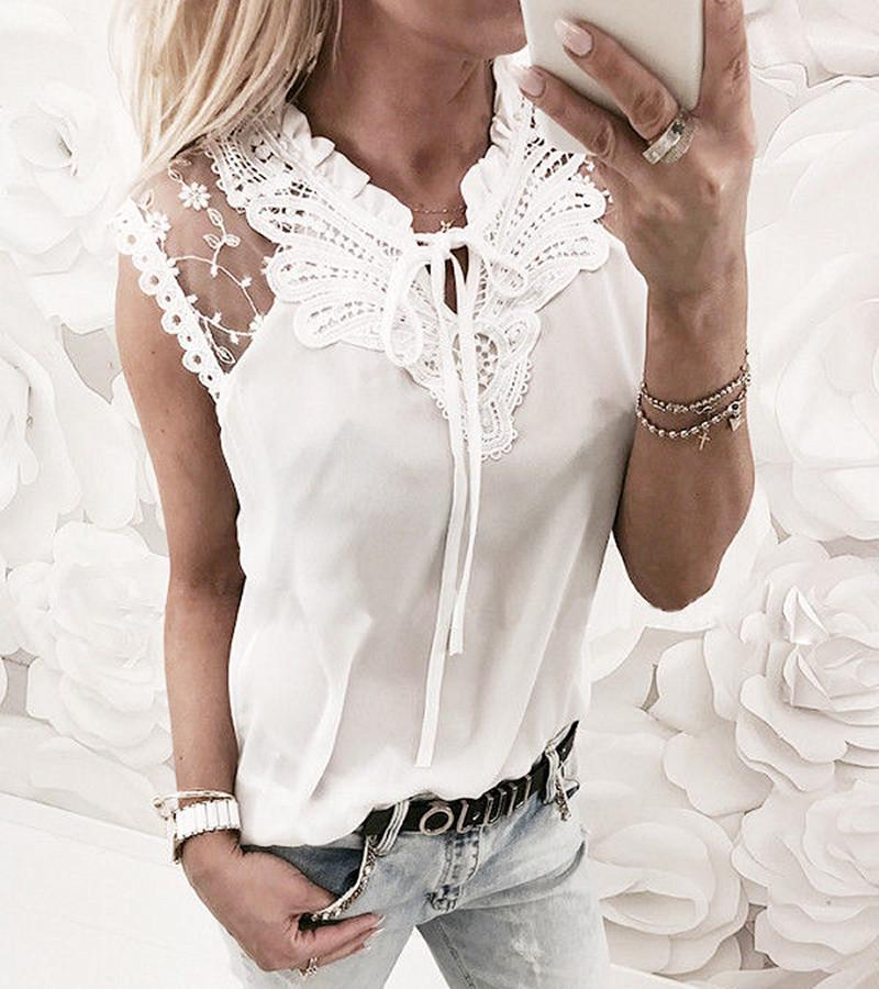 Womens Lace Sleeveless Summer Tops Ladies Casual Loose Fashion Blouse T Shirt | Edlpe