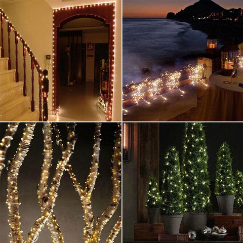 Solar Powered String Lights 2 Modes Steady On Or Flash Led Copper Wire Waterproof String Light | Edlpe