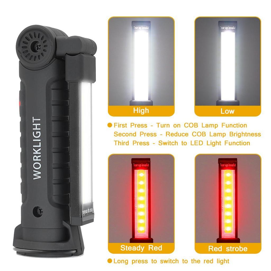 5 Modes Led Cob Work Light Magnet Usb Flashlight With Hook Folding Torch Led Flashlight | Edlpe