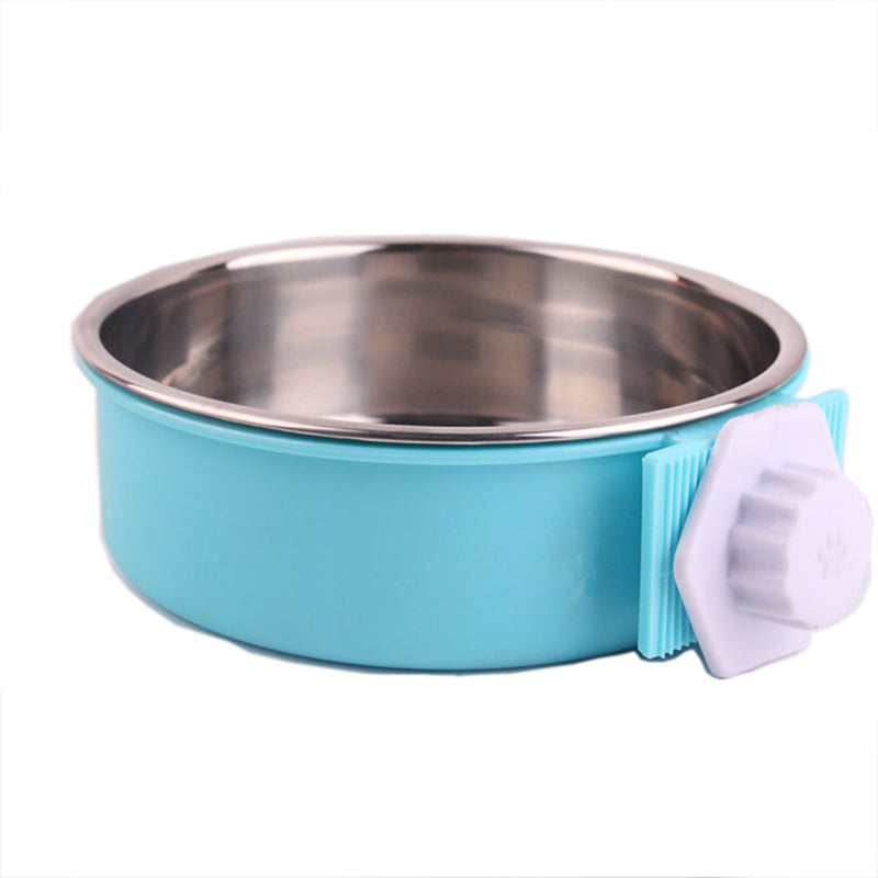 Pet Dog Cat Bowl Can Hang Stationary Dog Cage Bowl Stainless Steel Hanging Bowl | Edlpe