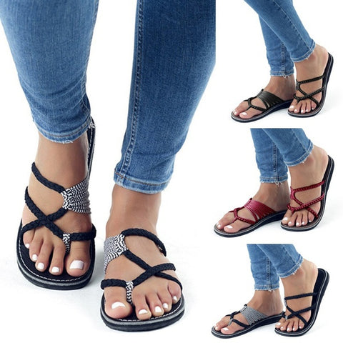 Women Summer Flat Sandals Casual Flip-Flop Sandals Femme Beach Outdoor Slippers | Edlpe