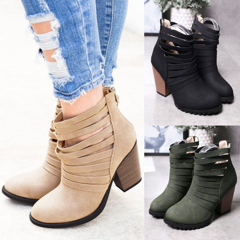 Women Fashion Hollow Ankle Boots High Chunky Heel Round Toe Back Zipper Casual Shoes Short Bootie | Edlpe