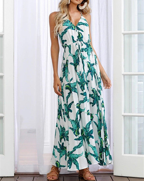 Women Sexy Leaf Print Split Maxi Dress Sleeveless Summer Beach Sundress | Edlpe