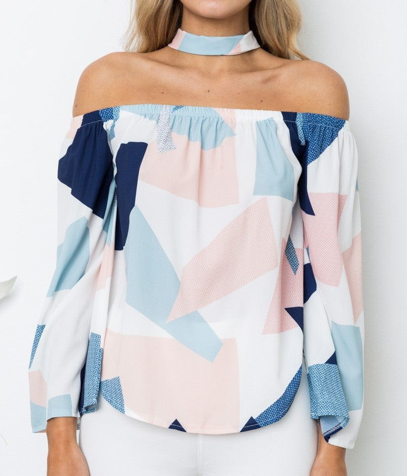Women Off-Shoulder Floral Printed T-Shirt Choker Top Summer Flare Sleeve Bardot Blouse Tops | Edlpe