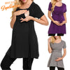 Image of Soild Color Breastfeeding Maternity Tie Front High Waist T-Shirt Dress | Edlpe