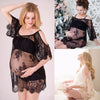 Image of Sexy Perspective Lace Flower Embrodiery Maternity Cold Shoulder Dress | Edlpe