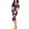 Image of Vintage Pregnant Floral Printed Cold Shoulder Slimming Midi Dress | Edlpe