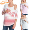 Image of Casual Stripe Maternity Midi Sleeves Side Button Nursing T-Shirt Top | Edlpe