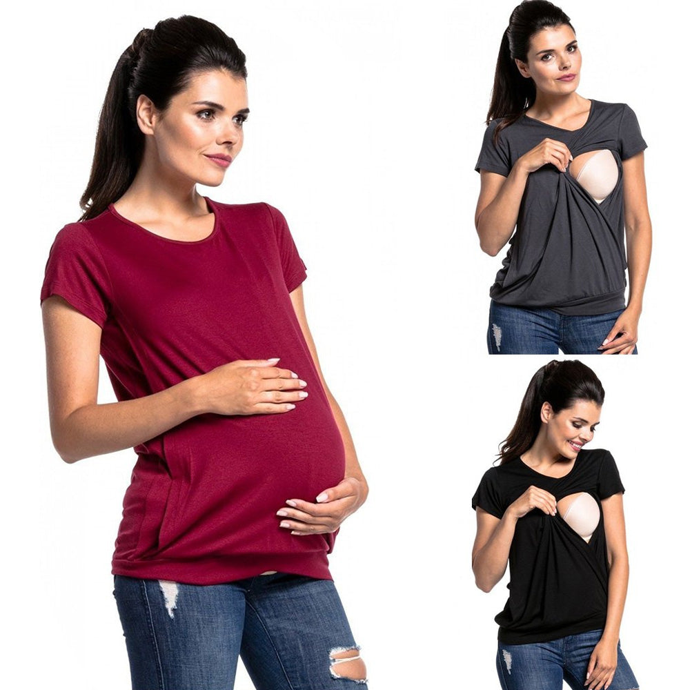 Mother Contracted Design Breastfeeding Short Sleeves T-Shirt Top | Edlpe