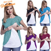 Image of Mother Breastfeeding Chiffon Stitching Double Layer Maternity Top | Edlpe