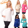 Image of Pregnant Women Long Sleeve Plain Nursing Tops Maternity Breastfeeding Shirt | Edlpe