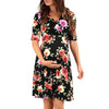 Image of Vintage Half Sleeves Pregnant Floral Printed V-Neck Tie Waist Mini Dress | Edlpe
