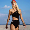 Image of Women Sexy One Shoulder Cutout Special Design One-piece Side Zipper Swimsuit Swimwear Bathing Suit