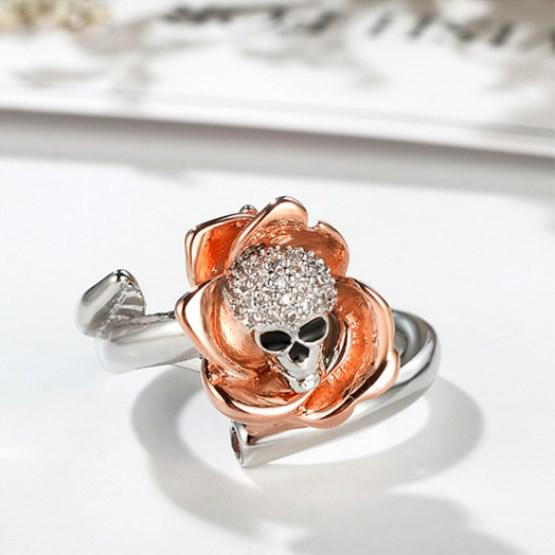 Elegant Skeleton Skull Cubic Zircon Ring Flower Rose Opening Rings For Women | Edlpe