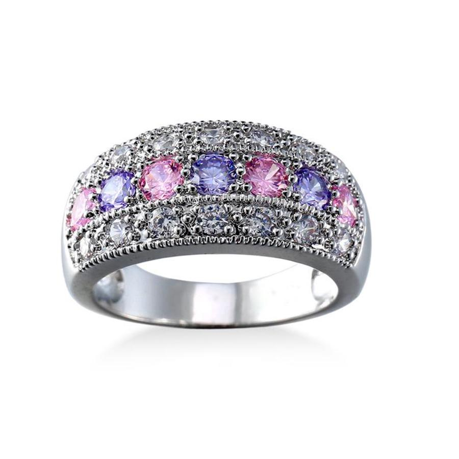 Multi Color Crystal Finger Eternity Ring With Purple Cubic Zircon Jewelry | Edlpe