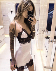 Women Sexy Deep V Backless Lace Sling Lingerie Underwear Sleepwear Nightwear Pajamas