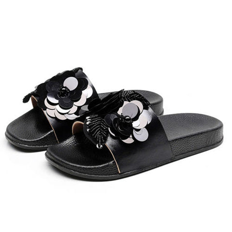 Women Fashion Sequin Flower Shape Slipper Summer Flats Outdoor Slipper Slip On Sandals | Edlpe