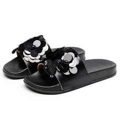 Women Fashion Sequin Flower Shape Slipper Summer Flats Outdoor Slipper Slip On Sandals