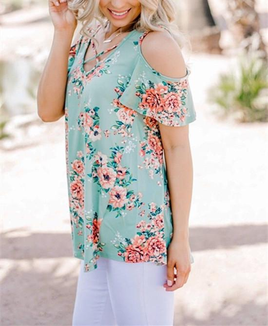 Women Floral Printed Strapless Short Sleeve Loose Casual Tops Off-Shoulder V-Neck T-Shirt | Edlpe