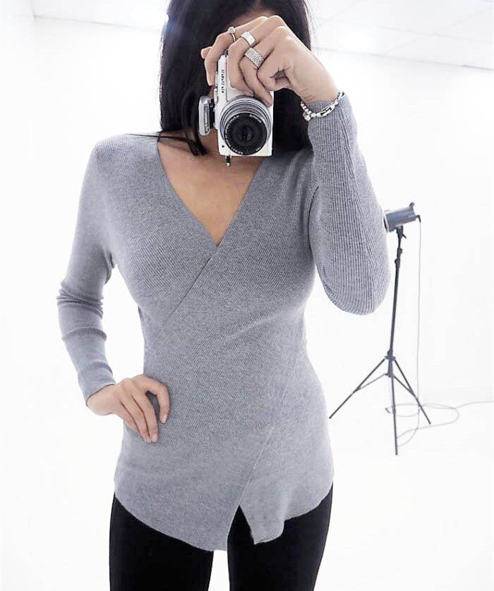 Womens Long Sleeve Cross V Neck Wrap Blouse Ladies Casual T Shirt Bottom Tee | Edlpe