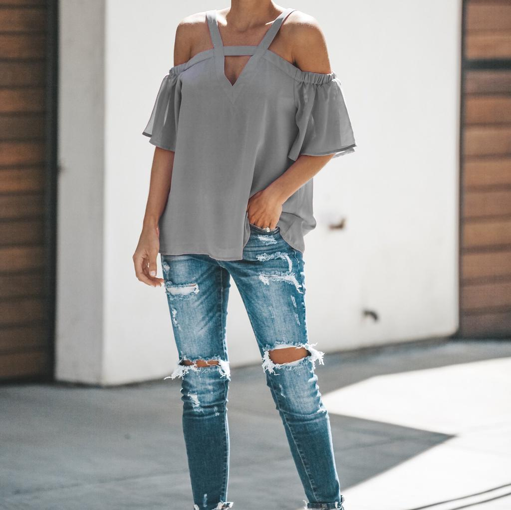 Womens Cold Off Shoulder Tops T Shirt V Neck Short Sleeve Loose Casual Summer Top Blouse | Edlpe