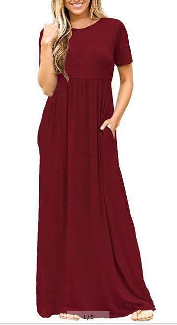 Leisure Short Sleeves Solid Color Pocket High Waist Loose Maxi Dress | Edlpe