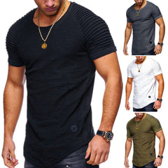 Men Casual Gauffer Shoulder Short Sleeve T Shirt O-Neck Silm Fit Solid Color Tops M-2Xl | Edlpe